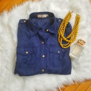 Tory Burch Blue Button Down with Gold Buttons Sz:6